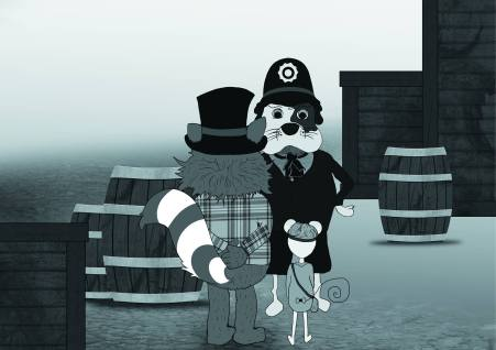 Adeline KEMP - Graphiste / Illustratrice - Carlton Heston raton détective - panique sur la tamise